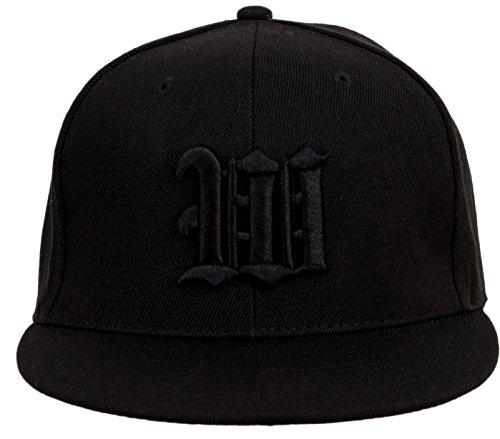 4sold Gorra con Raised 3D Negro Bordado Letra Gorra de béisbol Hip-Hop Gorra Sombrero Gorro de Invierno Negro W Talla única
