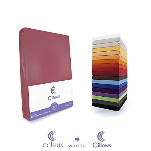 Cillows Jersey Spannbettlaken Spannbetttuch 90x200-100x220 cm 100% Baumwolle Bettlaken Farbe: Brombeer 160 g/m2 Qualität