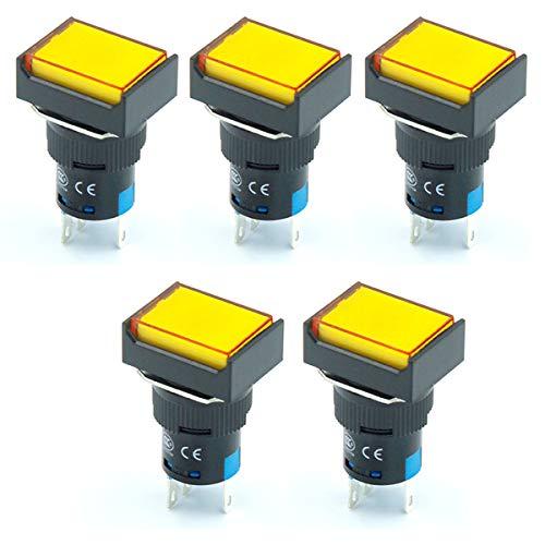 ETial 16mm 1NO 1NC Interruptor de botón pulsador Momentáneo Rectángulo LED Lámpara Luz amarilla AC DC 24V 5 Pin 5 piezas