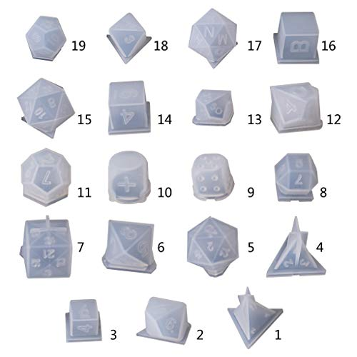 Fantastic Prices! WAOving DIY Crystal Epoxy Mold Dice Fillet Shape Multi-spec Digital Game Silicone ...