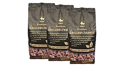 CARBOGARDEN® Premium Buchen Grill-Holzkohle, DINplus zertifiziert, ohne Tropenholz, in Restaurantqualität, 3 x 3 kg