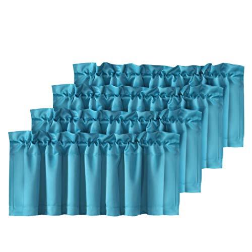 "H.VERSAILTEX 4 Panels Blackout Curtain Valances for Kitchen Windows/Bathroom/Living Room/Bedroom Privacy Decorative Rod Pocket Short Winow Valance Curtains, 52"" W x 18"" L, Turquoise Blue"
