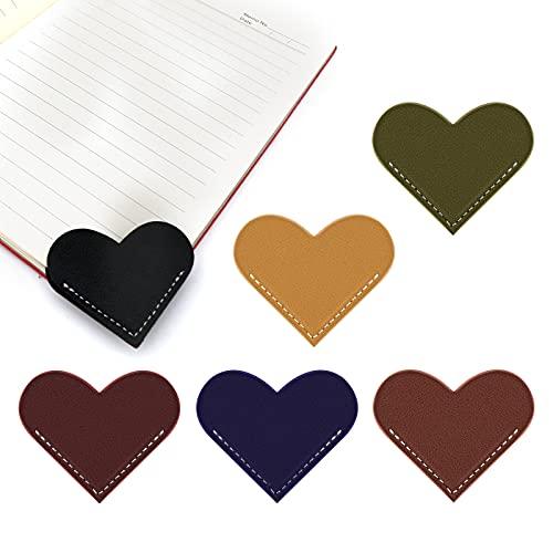 SAVITA 6 Pezzi Segnalibri a Forma di Cuore in Pelle Segnalibro Cuore in Pelle Segnalibri D'angolo di Pagina Fatti a Mano per Studenti Amanti dei Libri Lettore di Topo di Biblioteca