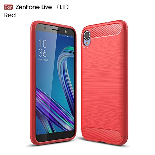 Ycloud Silikon TPU Schutzhülle für ASUS ZenFone Live (L1) ZA550KL Weich Ultra Dünn Hülle Stoßfest Anti-rutsch Back Cover Kohlefaser Textur Rot Tasche für ASUS ZenFone Live (L1) ZA550KL