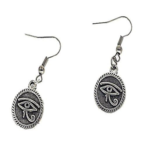 Plata pendientes de ojo de Horus, plata tibetana colgantes, antiguo Egipto egipcio, Plata de Ley, Plata Egipcio Encanto