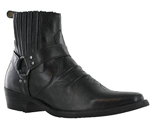 Stivaletti con tacco da uomo in pelle, con fibbia, stile Cowboy Western, EU 41-45, Nero (Black), 45,5 EU
