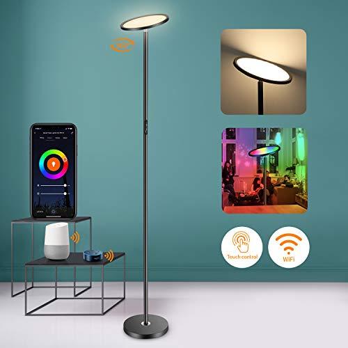 LED-vloerlamp 25W, 1500Lm WiFi Smart plafondschijnwerper, RGB kleurverandering LED vloerlamp zwart, traploos dimbaar vloerlamp voor woonkamer, slaapkamer, kantoor