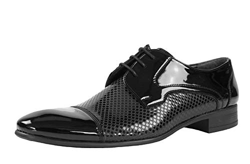 CAPRIUM Herren Schuhe Schnürhalbschuhe Business Fein Derby Anzugschuhe Größe 40-46 Modell Klassik (46 EU, Schwarz Lack)