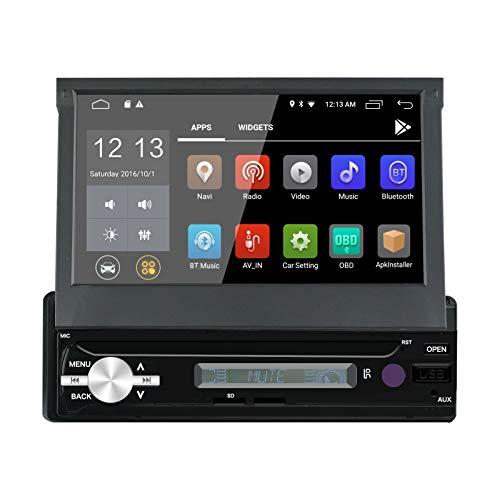 LEXXSON Android 9.0 1 Din Autoradio mit GPS Navigation Bluetooth 1080P HD Automatisch Ausfahrbarer Touchscreen FM/AM/RDS Unterstützt BT/SD/USB/Lenkradsteuerung/Freisprechen/Mirror Link