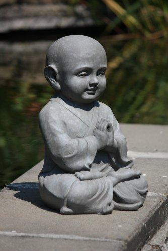 Figur Shaolin Mönch in Meditation – für Haus und Garten – Höhe 42 cm – grau - 3