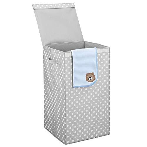 mDesign Cestos para ropa sucia con tapa – Modernas cestas para la colada plegables y con asas para baño – Cubos de ropa sucia con diseño de lunares – gris claro blanco
