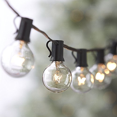 25Ft G40 Globus-Schnur-Licht,hängendes Innen- / im Freienschnur-Licht 25 G40 Glühbirne warmweiß für Bistro Pergola Hinterhof-Zelt-Markt-Café Gazebo Portal-Buchstaben-Parteien, ideal für die Terrasse