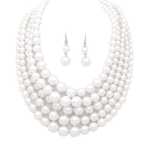 Fashion 21 Women's Five Multi-Strand Simulated Pearl Statement Necklace and Earrings Set (White)