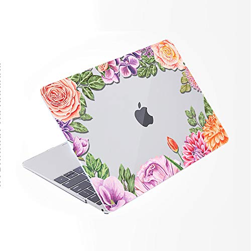 SDH for MacBook Pro 13 inch Case (2020/2019/2018/2017/2016,Touch Bar & ID),Plastic Pattern Hard Shell & Laptop Sleeve Bag & Keyboard Cover for Mac Pro 13 A2159/A1989/A1706/A1708,Flower World 11
