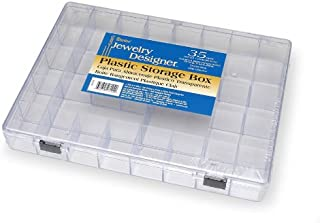 """Darice Clear Plastic Storage Box – 35 Separate Compartments – Perfect Way to Organize Beads, Jewelry Making and Craft Supplies, Earrings and More – Securely Snaps Shut, 11 ¾"""" x 8 ¾"""" x 1 ½"""""""