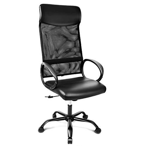 INTEY Bürostuhl mit hoher Rückenlehne, Schreibtischstuhl ergonomisch, Office Chair atmungsaktiv, Wippfunktion bis 20°, Bürosessel aus Leder und Mesh, Belastbar bis 115 kg