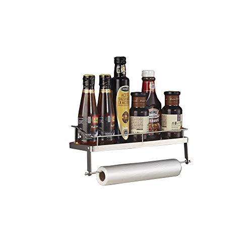AniU Especiero de acero inoxidable soporte para tarros de cocina con varilla estante de almacenamiento sin perforación estante de almacenamiento multifuncional almacenamiento de botellas de especias