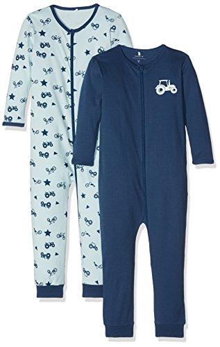 NAME IT Baby-Jungen NMMNIGHTSUIT 2P Zip NOOS Schlafstrampler, Mehrfarbig (Ensign Blue), 80 (2er Pack)