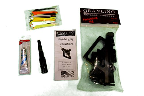 Trad Gear Grayling Straight JIG Arrow & Crossbow Bolt FLETCHING KIT - with 60 Pcs 4 INCH Bohning Killer Vanes - FLETCHING Stripper - Adhesive Glue - VANES - Repair and Build Your OWN Arrows & Bolts