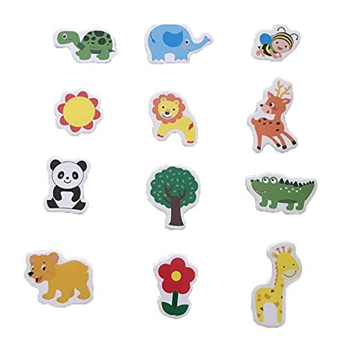 Perfecto 12 unids / lote Madera Refrigerador Imán Frigorífico Pegatinas Dibujos animados Animal Dibujos Animados Coloridos Juguetes Niños Bebé Educativo para Tablón de anuncios Mapa del refrigerador