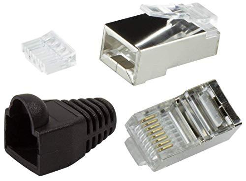 odedo® 12er Pack Crimpstecker CAT6 Metall geschirmt mit Einfädelhilfe und Knickschutz in schwarz, Netzwerk Lankabel RJ45 Kat 6, Crimp Stecker Gigabit, Modular Plug Shielded Connector (Schwarz)