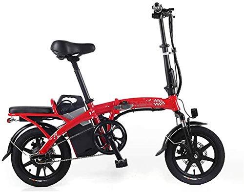 ZMHVOL Ebikes, Bicicleta eléctrica Batería de Litio Plegable Mini Portátil Portátil Bicicleta eléctrica Scooter Adulto con Motor 350W ZDWN (Color : Red, Size : 19.2ah)