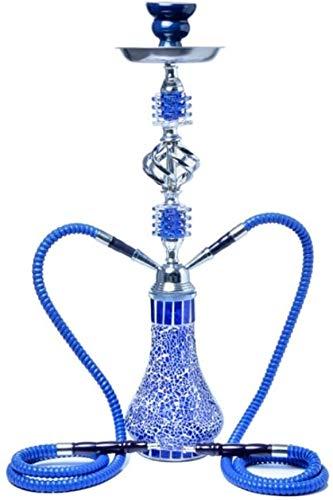 Enjoy4Health Arab Hookah, 2 mangueras, Shisha Hookah, juego de ahumador de fiesta sin nicotina, negro (color: azul)