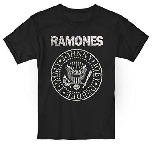 LaMAGLIERIA Camiseta niño Ramones Grunge Texture - t-Shirt Kids Rocker algodòn, 3-4 años, Negro