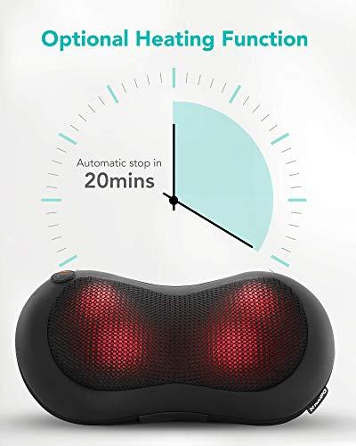 Naipo Coussin de Massage Chauffant Masseur Cou Shiatsu Massant 4D Pétrissage pour Relaxation au Cou Nuque Dos Lombaire Jambes, Maison, Bureau, Voiture
