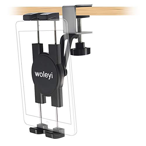 woleyi Supporto per Tablet sotto L'armadio, Porta Tablet da Cucina di Facile Installazione, per iPad PRO 12.9 10.5 9.7 Air Mini 5 4 3 2, iPhone 12 PRO Max 11 XS XR X 8 e 4-12,9' Tablet Smartphone
