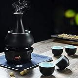 XinLuMing Juego de Sake y Tazas con Kit de Bebida Caliente de cerámica de Porcelana Tradicional, de 7 Piezas comprenden 1 Estufa 1 tazón 1 Sake Botella de Calentamiento 4 Taza (Color : C)