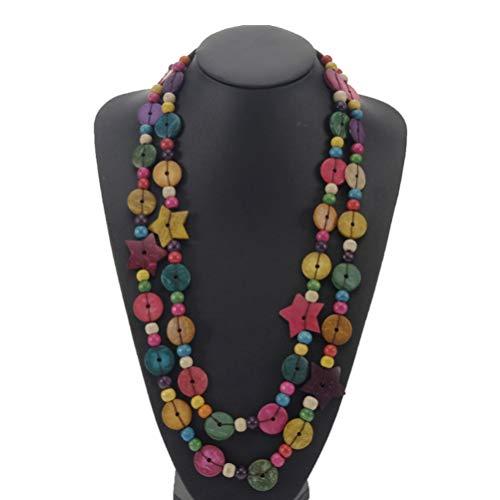 Happyyami Collar de bohemia multicapa de madera de coco sátiro cuentas redondas cadena colgante collar hecho a mano vintage collares de verano (color aleatorio)