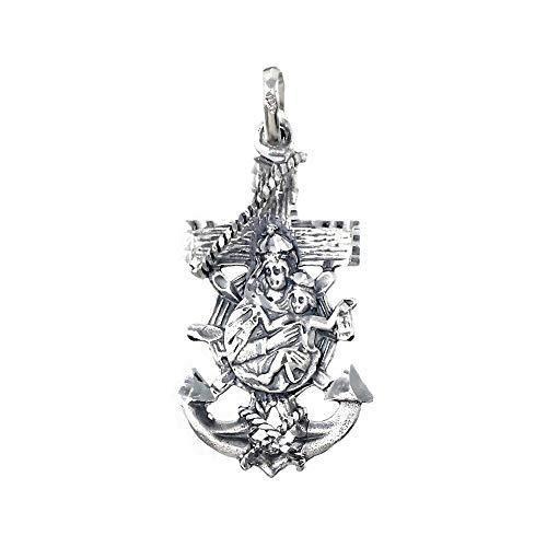 Colgante plata Ley 925m Virgen del Carmen cruz marinera 34mm. unisex ancho 19mm. [AC0027]
