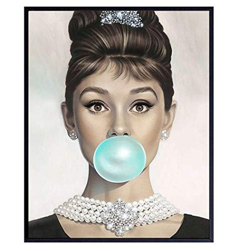 Breakfast at Tiffany's - Audrey Hepburn Wall Art - Tiffany Blue Audrey Hepburn Poster - Holly Golightly - Glam Wall Art - Vintage Movie Poster - Gift for Women, Her, Wife, Woman - Pop Art Wall Decor