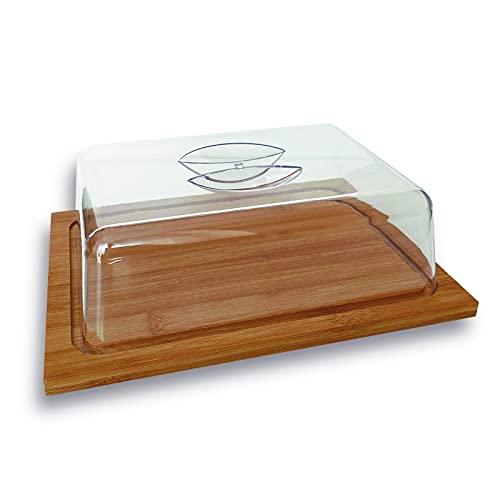 Quesera Rectangular De Bambu Con Tapa De Plastico De Metacrilato Transparente Para Cocina, Tabla Madera, Para Guardar Quesos Variados, Recipiente Para Queso, Tapa Transparente