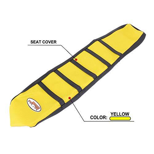 Couverture souple de Seat de moto de pince pour Suzuki RM85 02-17 jaune / noir