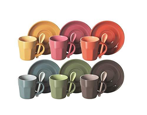Excelsa Abbraccio Set Tazzine da caffè, Ceramica, Multicolore
