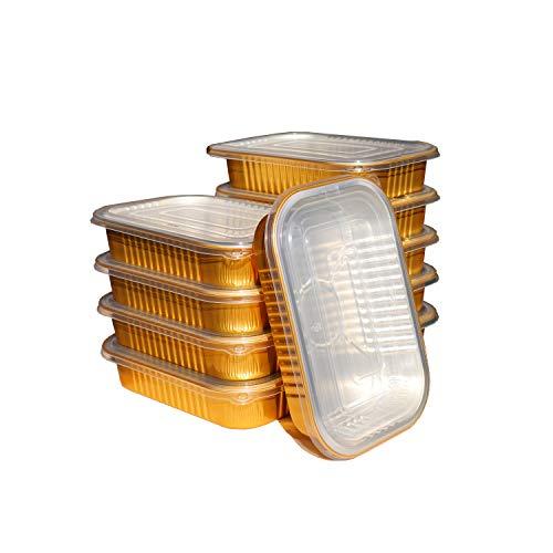 Bandeja de papel de aluminio dorado, bandeja desechable de 1000ml con tapa, para hornear, barbacoa, platos para llevar, 10 unidades