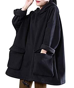 YESNO WZF Women Casual Fleece Pullover Hoodies Plus Size Active Jacket/Large Pockets  WZF Black-Fleeced L