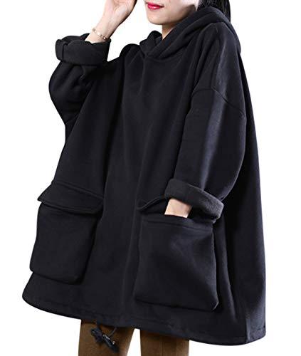 YESNO WZF Women Casual Fleece Pullover Hoodies Plus Size Active Jacket/Large Pockets (WZF Black-Fleeced, L)