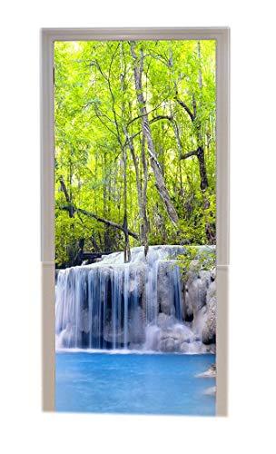 A.Monamour Pegatinas Decorativas de Puerta Autoadhesivo 3D Tailandia Verde Selva Tropical Bosque Cascada Cascada Paisaje Vinilo para Puertas Mural PVC Pegatinas de Pared Foto Poster 77 x 200 cm