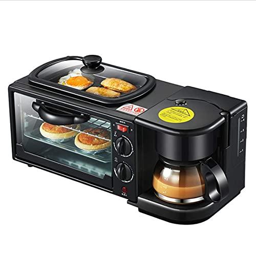 Mini Horno multifunción máquina de Desayuno Tres en uno - Parrilla eléctrica portátil pequeña de 9 l - Control de Temperatura Ajustable, Temporizador - 650 W - función de cocción múltiple Parrilla y