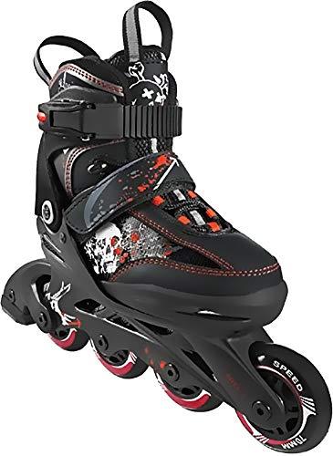 Crivit Sports Kinder Inliner Inline-Skates Softboot Rollerblades (schwarz rot weiß grau Totenkopf Gr. 29-33)