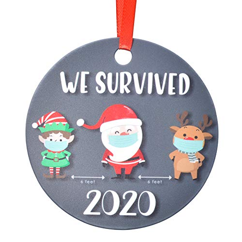 Aileam 2020 Christmas Tree Ornament, We Survived Santa Claus Elk Kids with Mask Xmas Tree Hanging Decoration 4 inch Holiday Christmas Family & Friends Gift