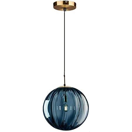 LFsem Plafonnier Simple Tête Coloré Ø15cm Globe En Verre Suspension E14 Loft Chambre Restaurant Suspension Lustre Simple Moderne (Bleu)
