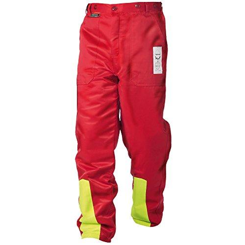 WOODSafe Schnittschutzhose Klasse 1, Forsthose, kwf-geprüft, Bundhose rot/gelb, Herren - Waldarbeiterhose mit Schnittschutz Form A, leichtes Gewicht (58)