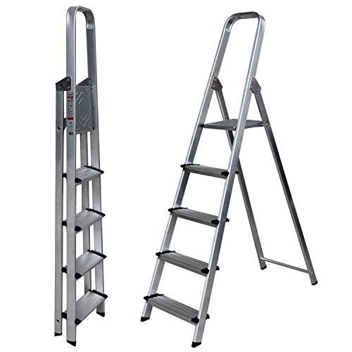 Escalera de Tijera SUPER Aluminio Peldaño Ancho 12 cm (5 Peldaños con Ancho 12 cm). BTF-TJB305
