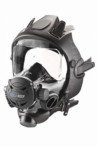 OCEAN REEF Unisex Space Extender Integrated Full Face Diving Mask, Black/Black, Medium/Large