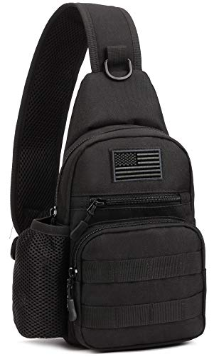 Protector Plus Tactical Sling Bag Military MOLLE Crossbody Pack Chest Shoulder Backpack with Water Bottle Holder Pouch EDC Diaper Motorcycle Bicycle Daypack (Patch Included),Black
