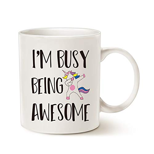 MAUAG Funny Quote Saying Coffee Mug Christmas Gifts, I'm Busy Being Awesome Birthday Gift Ideas for Friend Cup, White 11 Oz